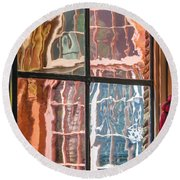 View From Another Window Round Beach Towel