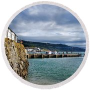 View From Back Beach - Lyme Regis Round Beach Towel