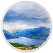 View From Bealach Ratagan To The Five Sisters Of Kintail Round Beach Towel