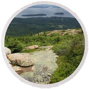 View From Cadillac Mountain - Acadia Park Round Beach Towel