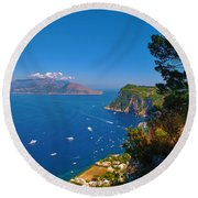 View From Capri Round Beach Towel