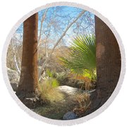 View From Creek Bed In Andreas Canyon In Indian Canyons-ca Round Beach Towel