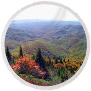 View From Devil's Courthouse Mountain Round Beach Towel