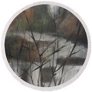 View From Foggy Window Round Beach Towel