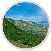 View From Knife Edge Road Overlooking Montezuma Valley In Mesa Verde National Park-colorado   Round Beach Towel