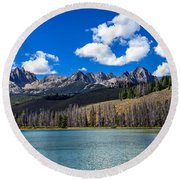 View From Little Redfish Lake Round Beach Towel