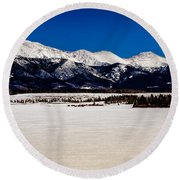 View From Meadow Creek Resevoir Round Beach Towel