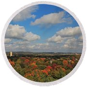 View From Mt Auburn Cemetery Tower Round Beach Towel