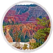 View From Queen's Garden Trail In Bryce Canyon National Park-utah Round Beach Towel