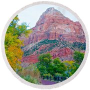 View From South Campground In Zion Np-ut Round Beach Towel