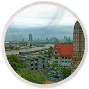 View From Temple Of The Dawn-wat Arun In Bangkok-thailand Round Beach Towel