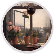 View From The Artist's Window Round Beach Towel