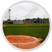 View From The Dugout Round Beach Towel