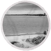 View From The Fort Gratiot Light House Round Beach Towel