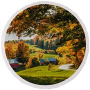 View From The Hill Round Beach Towel
