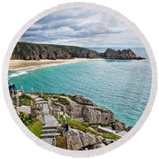 View From The Minack Theatre Round Beach Towel