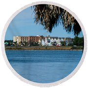 View From The Palms Round Beach Towel