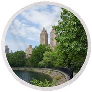 View From The Park West Side Round Beach Towel