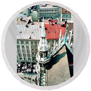 View From The Top Of Munich City Hall Round Beach Towel