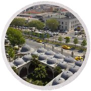 View From The Valens Aqueduct In Istanbul Round Beach Towel