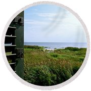 View From The Window At East Point Light Round Beach Towel