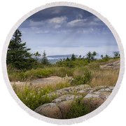 View From Top Of Cadilac Mountain In Acadia National Park Round Beach Towel