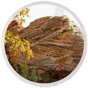 View From Zion-mount Carmel Highway In Zion Np-ut Round Beach Towel