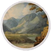 View In Borrowdale Of Eagle Crag And Rosthwaite Round Beach Towel