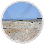 View In Front Of Mission Point Light House 03 Round Beach Towel