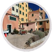 view in Sori Italy Round Beach Towel