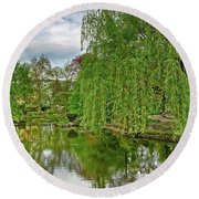 View Of A Botanical Garden, Krakow Round Beach Towel