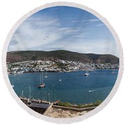 View Of A Harbor From A Castle, St Round Beach Towel