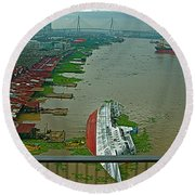 View Of A Ship On Its Side From A Bridge Near Bangkok-thailand Round Beach Towel