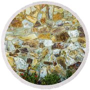 View Of A Stone Wall Round Beach Towel