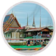 View Of A Temple From Waterway Of Bangkok-thailand Round Beach Towel