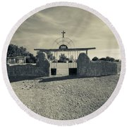 View Of Abandoned Church Gate Round Beach Towel
