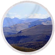 View Of Absaroka Mountains From Mount Washburn In Yellowstone National Park Round Beach Towel
