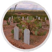 View Of Arizona From Boothill Cemetery Round Beach Towel