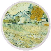 View Of Asylum And Saint-remy Chapel Round Beach Towel by Vincent van Gogh