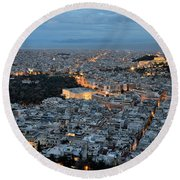 View Of Athens During Dawn Round Beach Towel