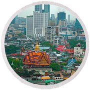 View Of Bangkok Buildings From Grand China Princess Hotel In Bangkok-thail Round Beach Towel
