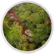 View Of Cano Cristales In Colombia Round Beach Towel