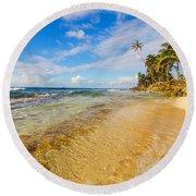 View Of Caribbean Coastline Round Beach Towel