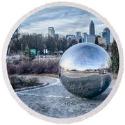 View Of Charlotte Nc Skyline From Midtown Park Round Beach Towel