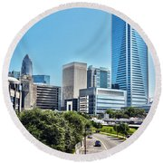 view of Charlotte North Carolina Round Beach Towel