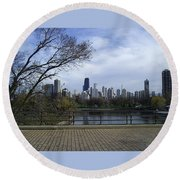 View Of Chicago Round Beach Towel