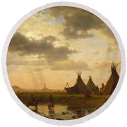 View Of Chimney Rock Ohalila .sioux Village In The Foreground Round Beach Towel