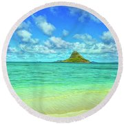 View Of Chinaman's Hat Round Beach Towel