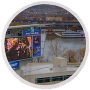 View Of Cincinnati Round Beach Towel by Dan Sproul