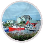 View Of Cove Round Beach Towel